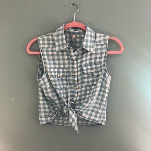 Blue Gingham Paper Crane Top   country concert